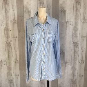 Guess striped button up shirt casual blouse L NWT
